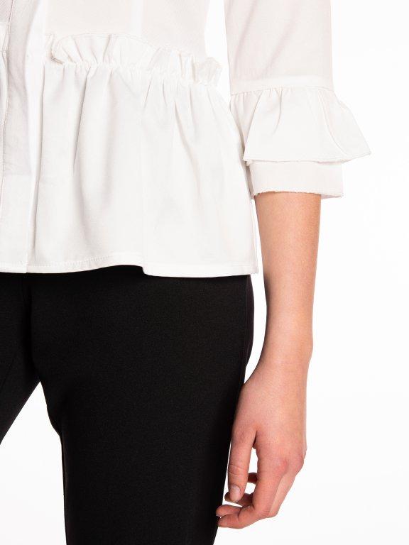Peplum bouse with ruffle sleeves