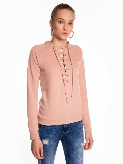 Lace-up sweatshirt
