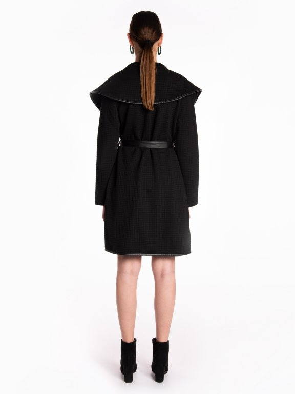 Robe coat with faux leather belt