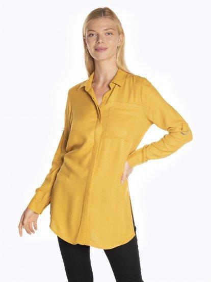 Dlhá viskózová košeľa s narolovanými rukávmi