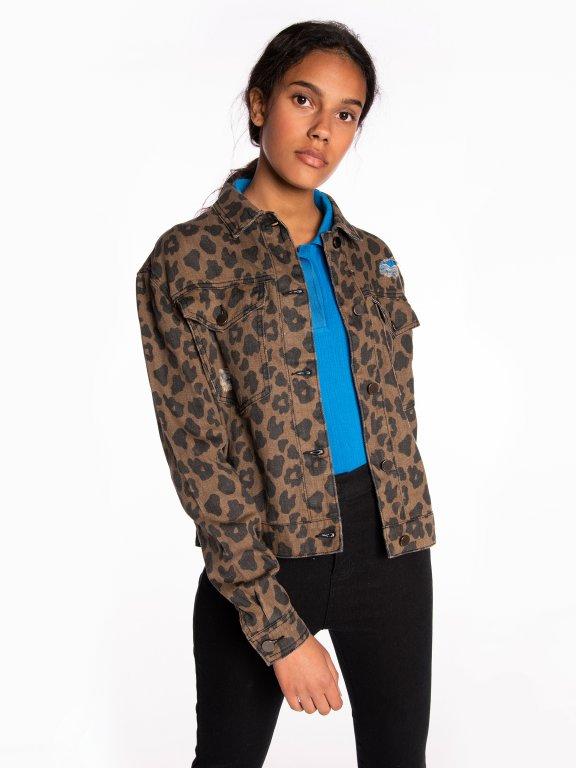 Animal print denim jacket