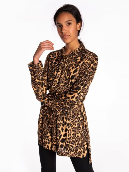 Longline animal print tie neck blouse