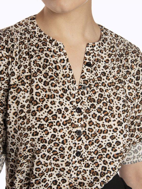 Animal print viscose blouse