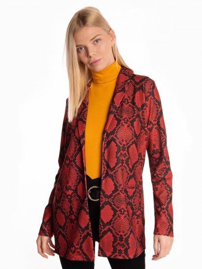 Snake skin print longline blazer