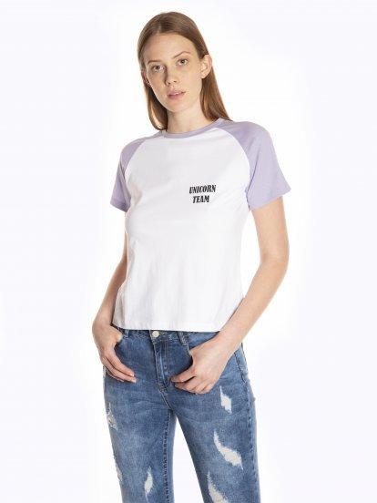 Tričko s nápisem a raglánovým rukávem