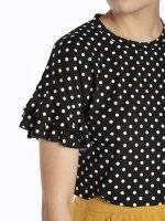 Polka dot print t-shirt with ruffles