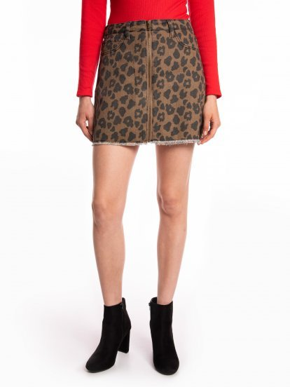 Animal print denim mini skirt