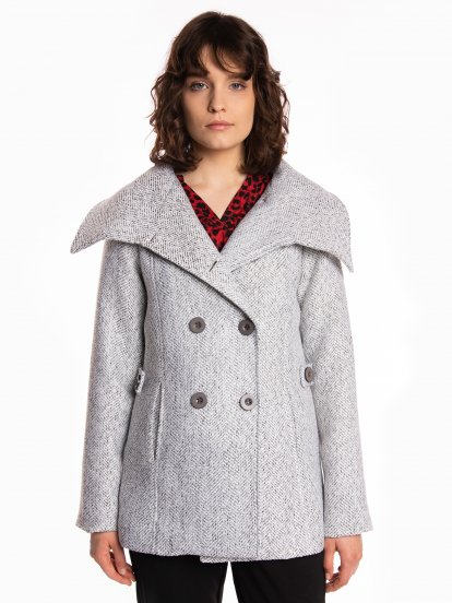 High neck double breasted coat