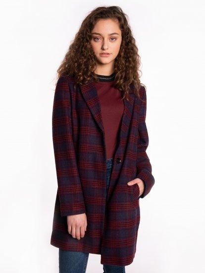 Plaid coat in wool blend