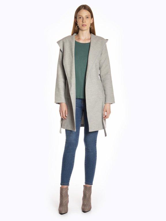Longline hooded coat with belt