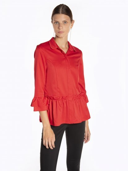 Peplum bouse with ruffle sleeves