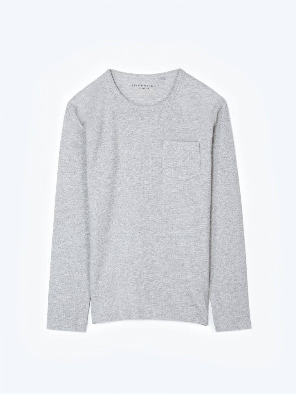 Vafľové tričko s dlhým rukávom a náprsným vreckom