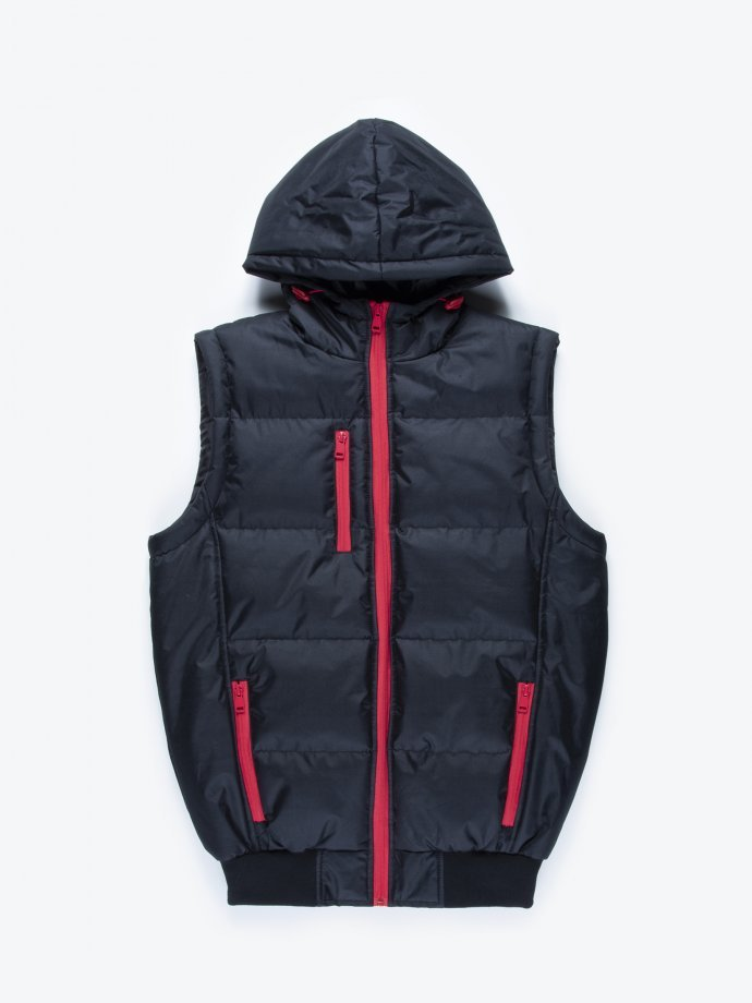 Hooded quilted padded vest with contast zippers
