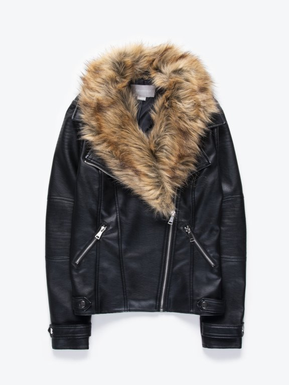 Motorkárska bunda z imitácie kože s odopínateľnou kožušinou