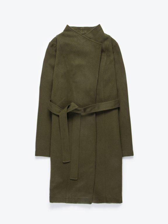 Longline coat with belt