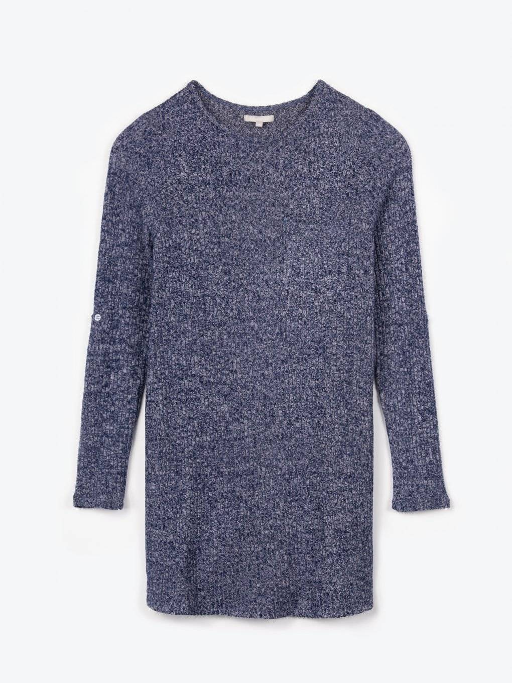 Longline ribbed jumper with chest pocket