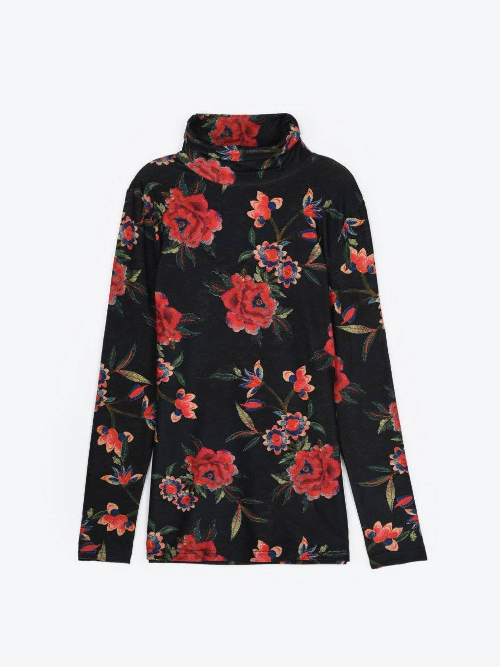 Floral print turtleneck t-shirt