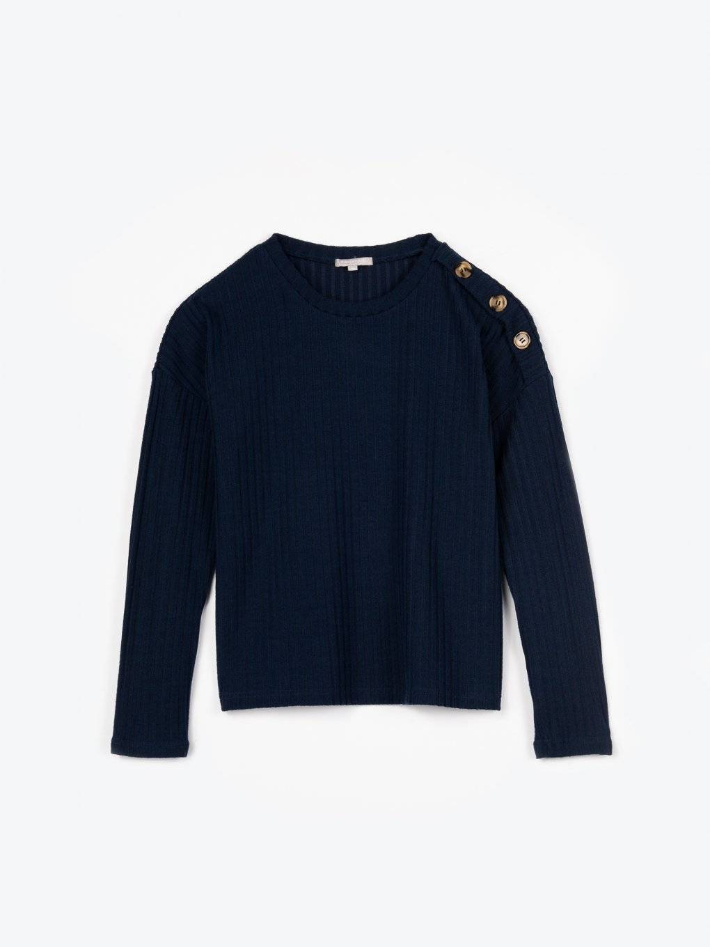 Ribbed pullover with decorative buttons