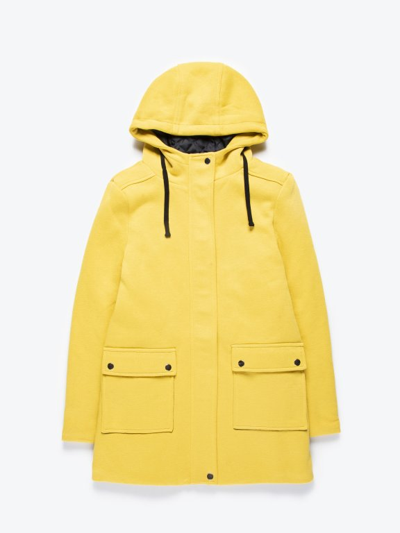 Hooded coat with message print tape detail