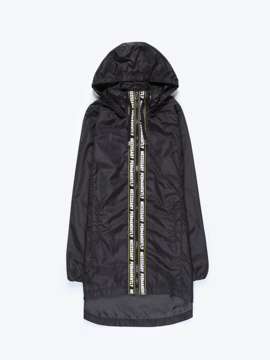 Longline taped hooded jacket with message print