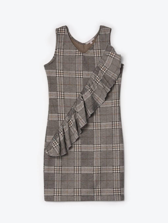 Kárované obtiahnuté šaty s volánom