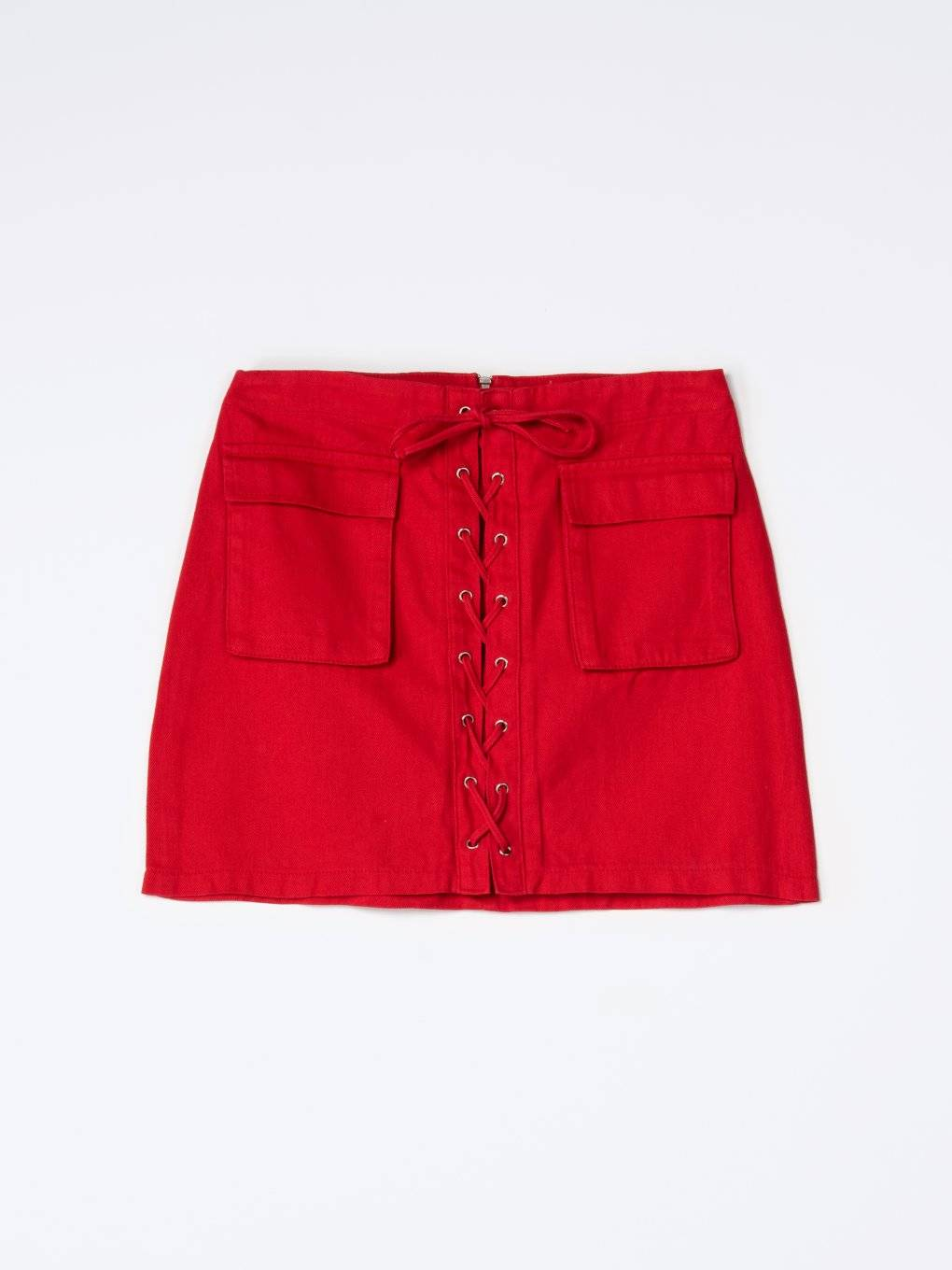 Denim lace-up skirt with pockets