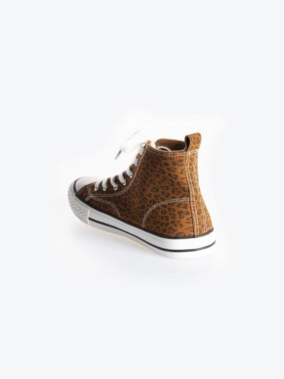 Animal print high top sneakers
