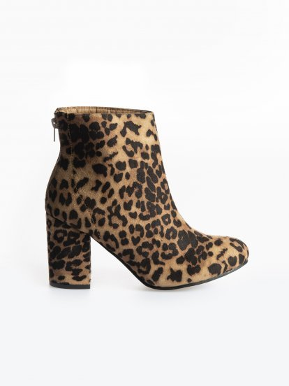 Animal print block heeled ankle boots