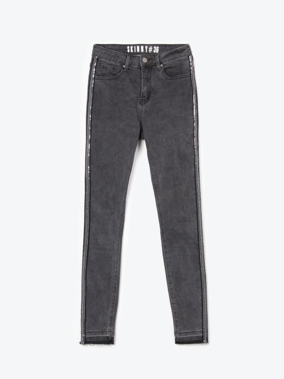 Skinny jeans with side sequin tape