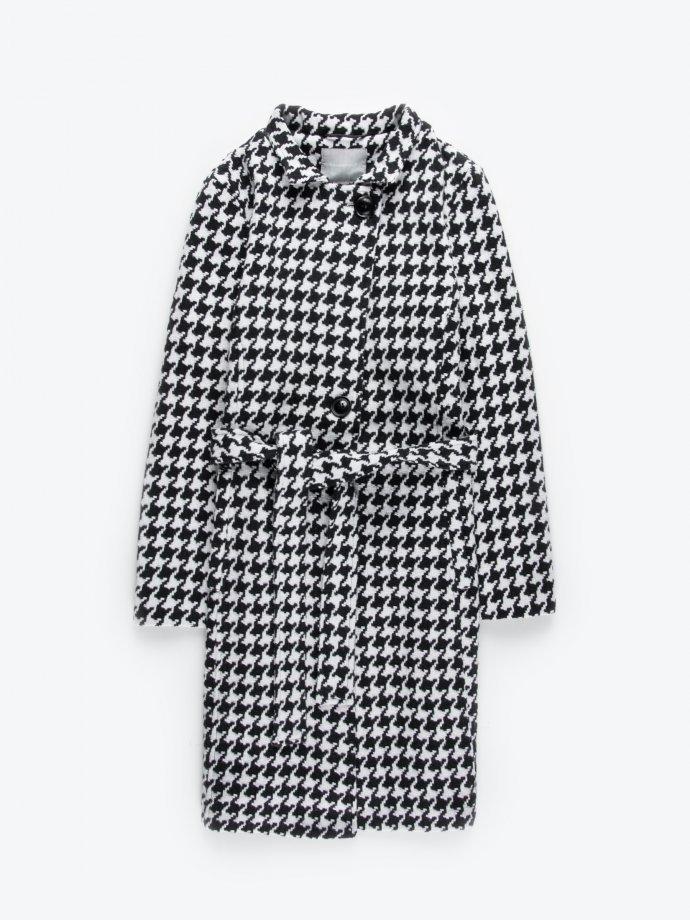 Belted houndstooth coat