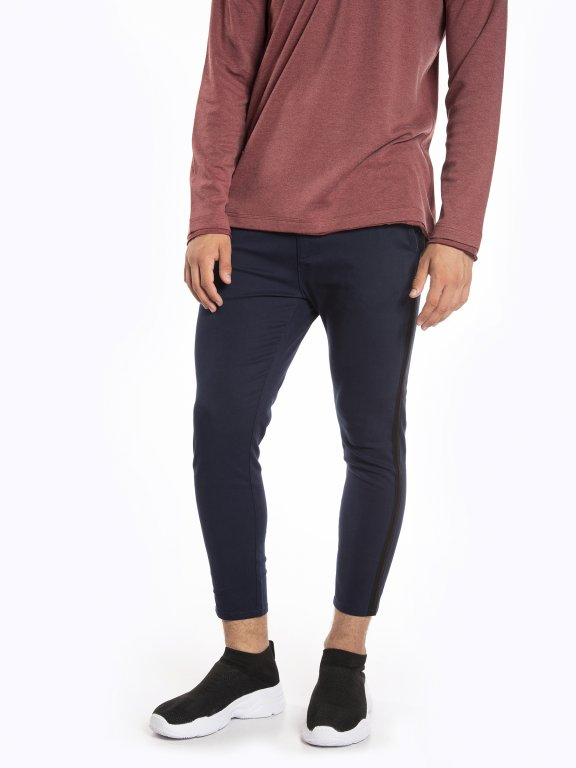 Cropped taped jeans
