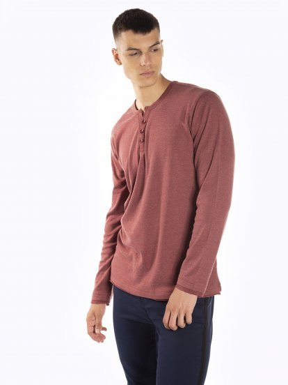 Tričko s dlhým rukávom s gombíkmi