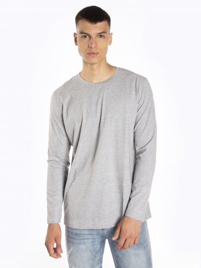 Basic dżersejowa koszulka z długim rękawem