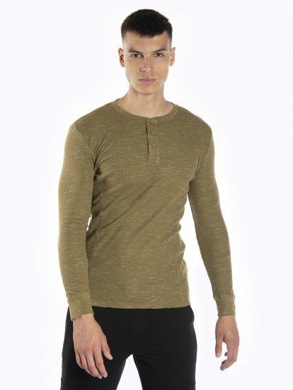 Melírované vaflové tričko s knoflíky