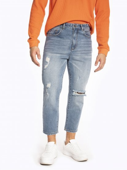 Cropped cotton jeans