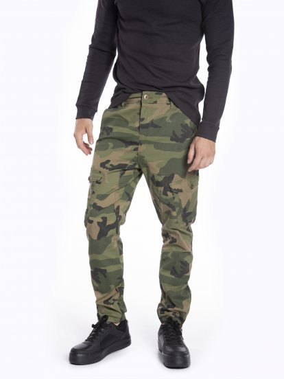 Camo printed cargo trousers