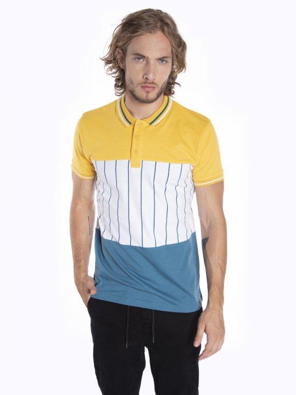 Colour block short sleeve polo shirt