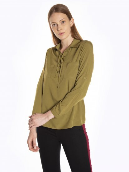 Blouse with front lacing