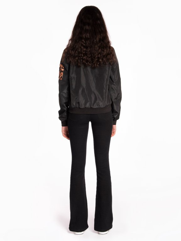 Bomber jacket with animal print details
