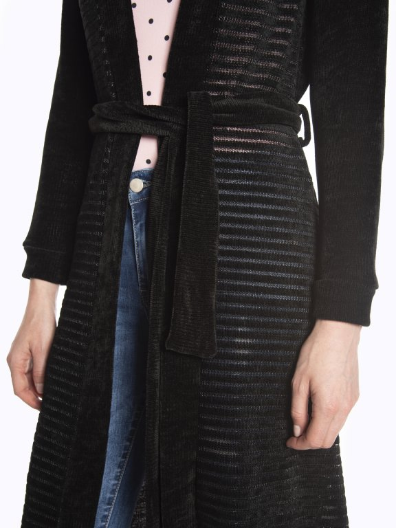 Longline structured cardigan with belt