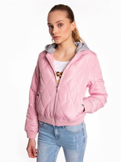 Quilted light padded bomber jacket with hood