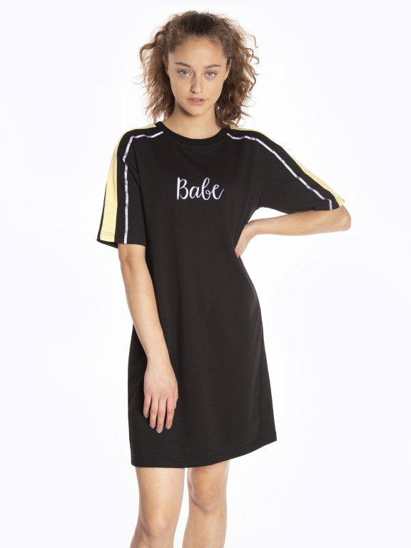 Taped dress with embroidery