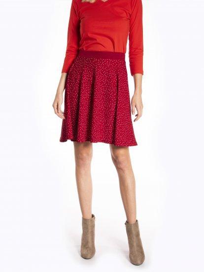 Polka dot print a-line skirt