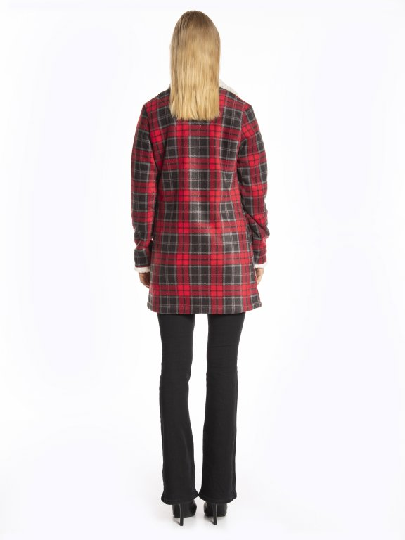 Plaid pile lined coat