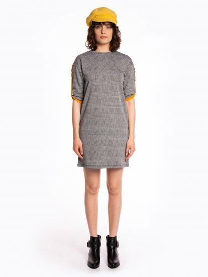 Plaid dress with contrast details