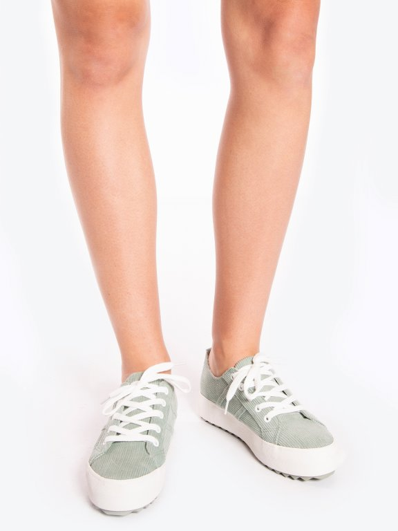 Curduroy lace-up sneakers