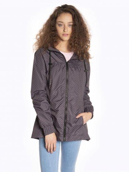Polka dot print jacket with hood