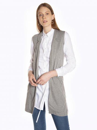 Longline striped vest