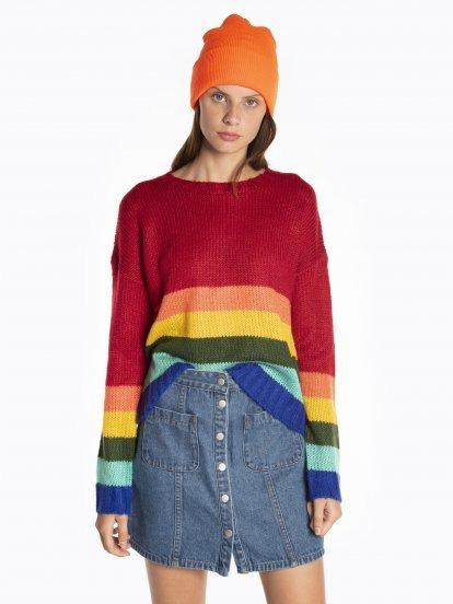Rainbow striped pullover