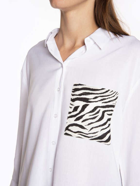 Viscose blouse with animal print pocket